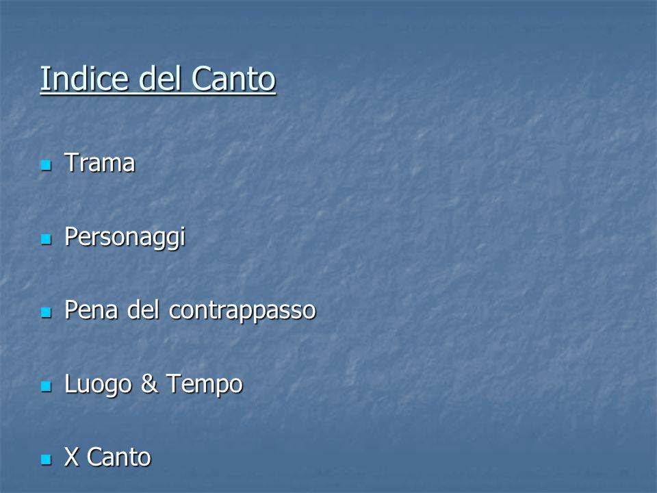Indice del Canto Trama Personaggi Pena del contrappasso Luogo & Tempo