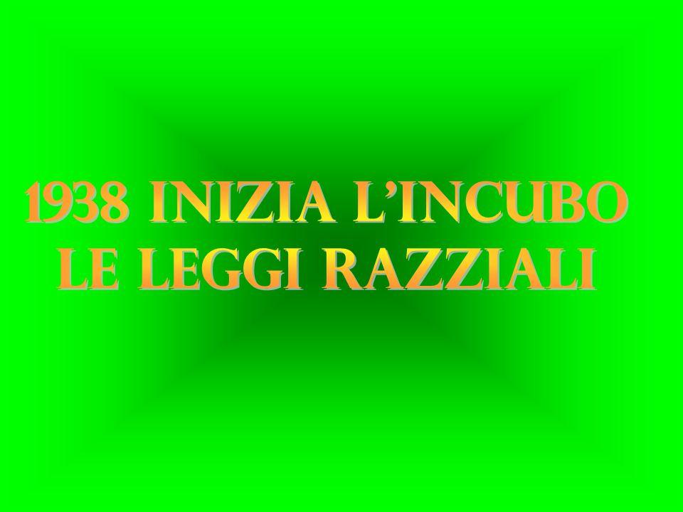 1938 INIZIA L INCUBO LE LEGGI RAZZIALI
