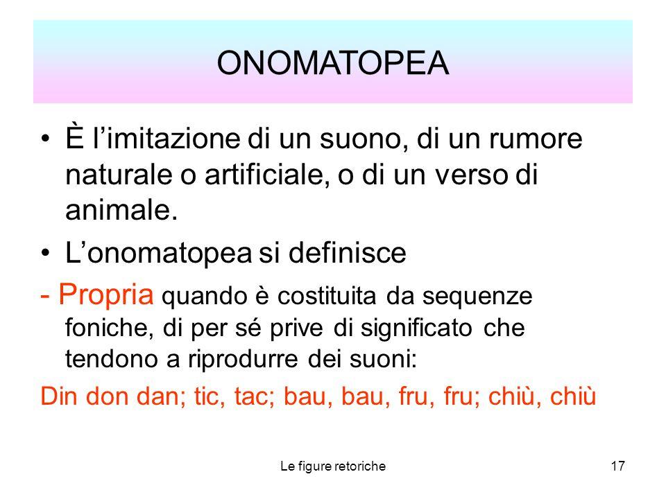 ONOMATOPEA È l'imitazione di un suono, di un rumore naturale o artificiale, o di un verso di animale.