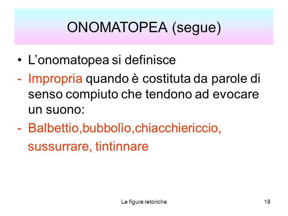 ONOMATOPEA (segue) L'onomatopea si definisce