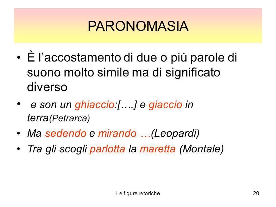 PARONOMASIA È l'accostamento di due o più parole di suono molto simile ma di significato diverso.