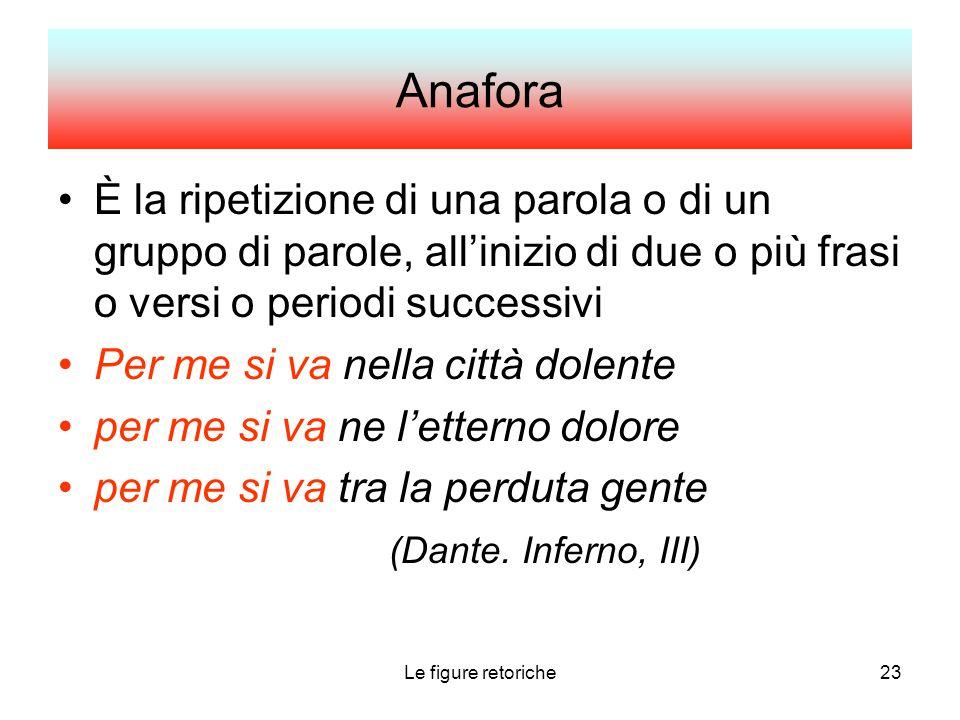 Anafora È la ripetizione di una parola o di un gruppo di parole, all'inizio di due o più frasi o versi o periodi successivi.