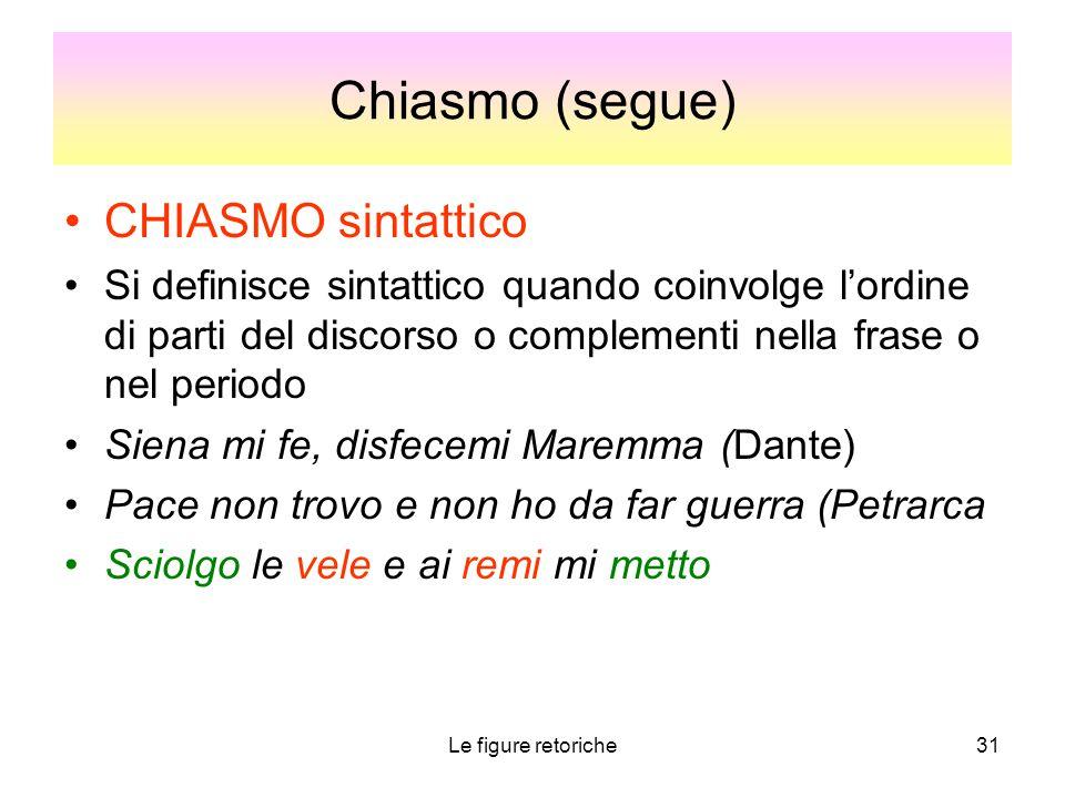 Chiasmo (segue) CHIASMO sintattico