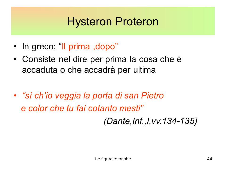 Hysteron Proteron In greco: Il prima ,dopo