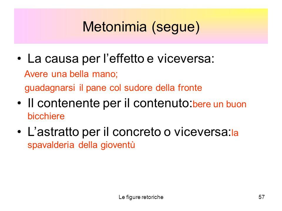 Metonimia (segue) La causa per l'effetto e viceversa: