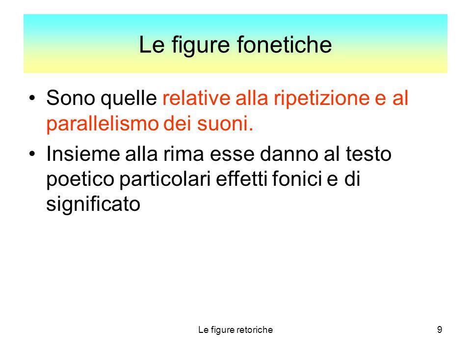Le figure fonetiche Sono quelle relative alla ripetizione e al parallelismo dei suoni.