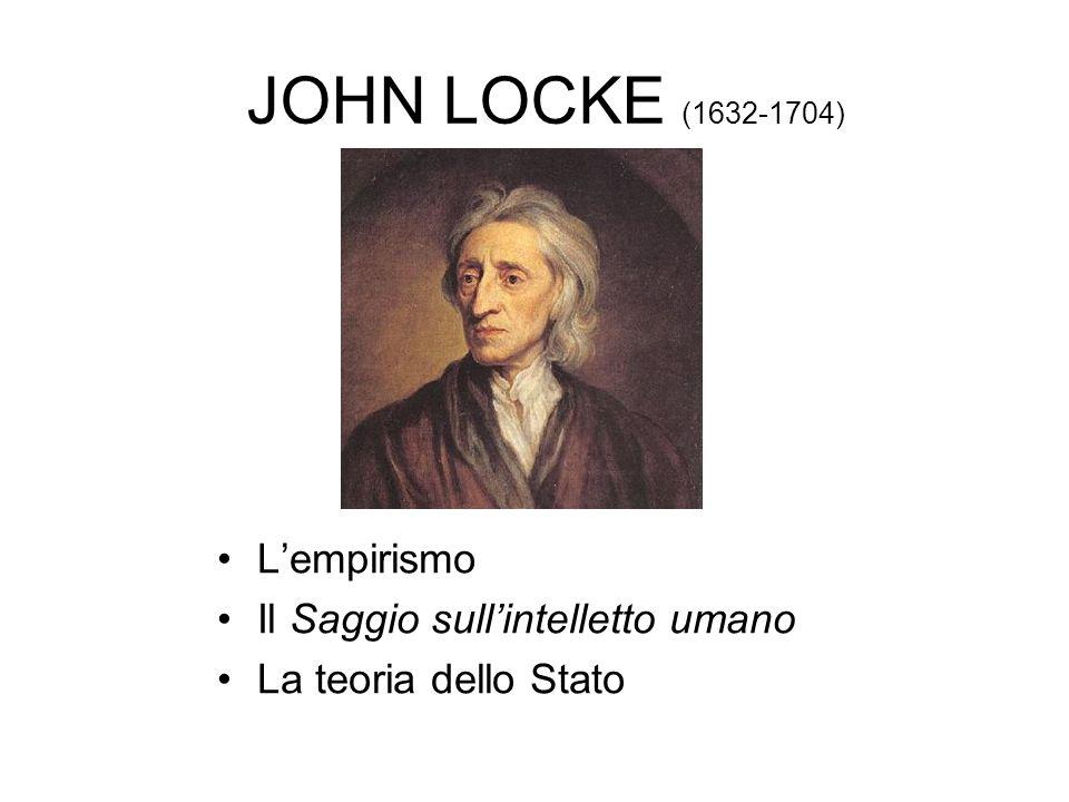 JOHN LOCKE (1632-1704) L'empirismo Il Saggio sull'intelletto umano