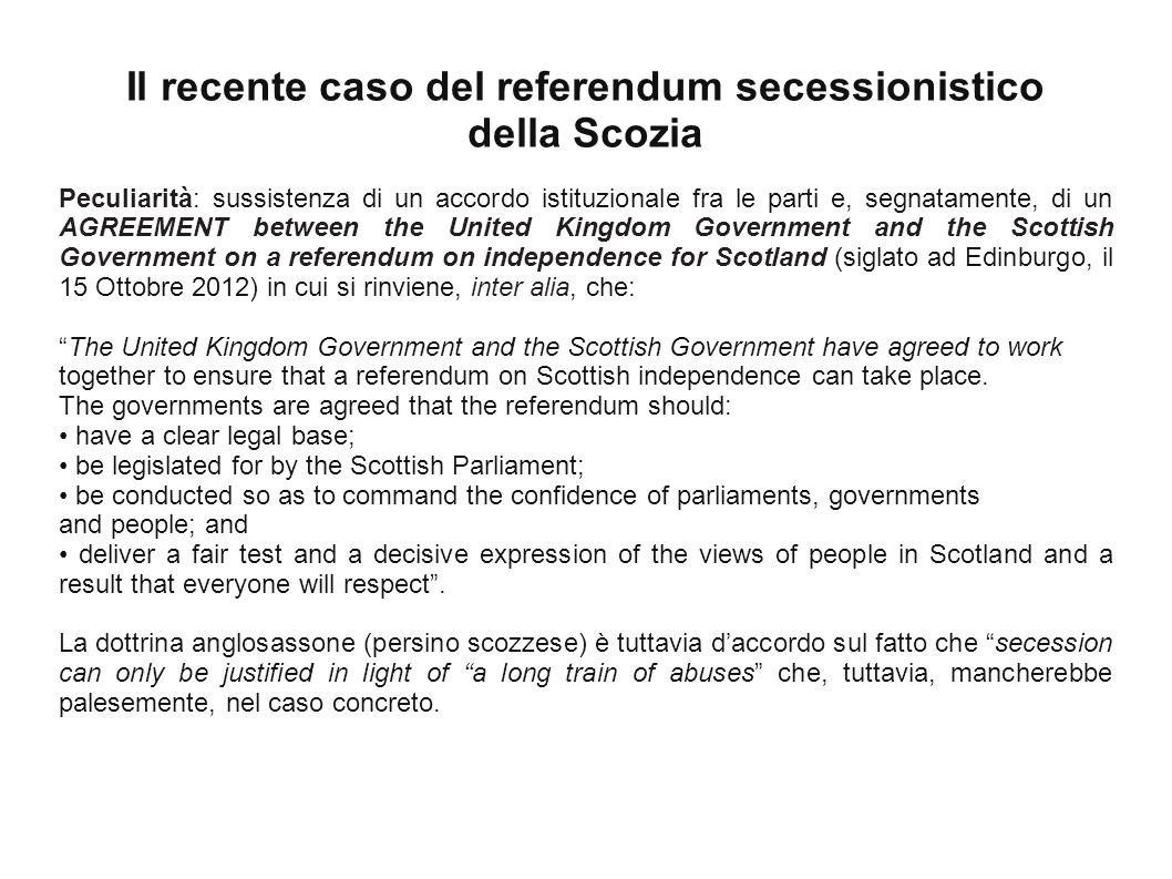 Il recente caso del referendum secessionistico della Scozia