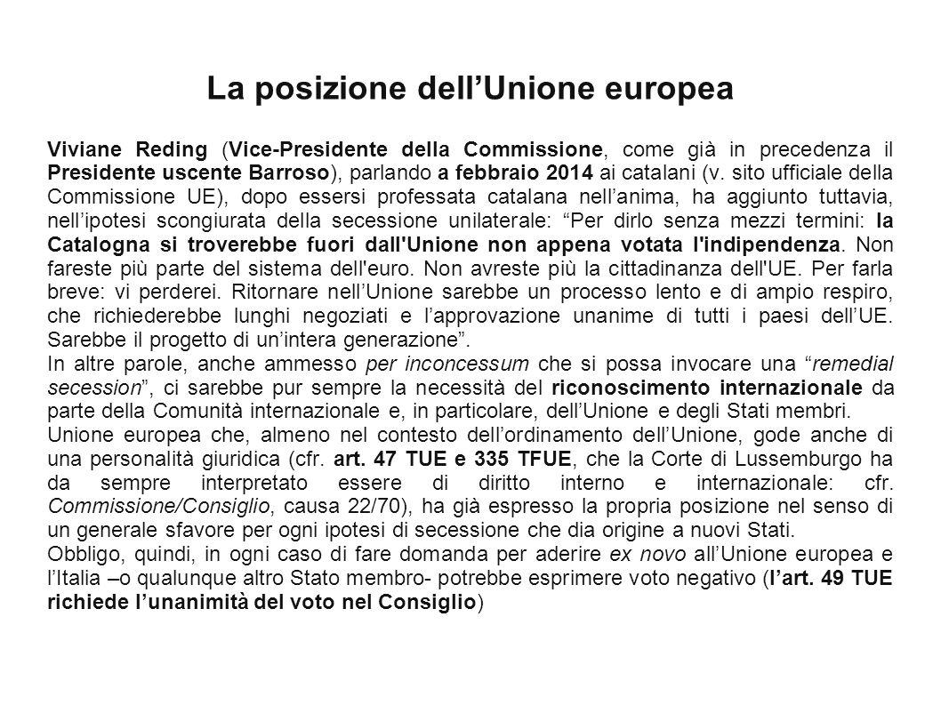 La posizione dell'Unione europea