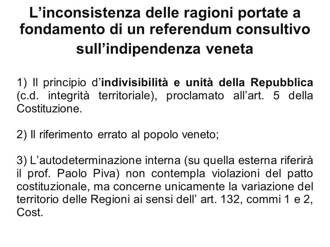1) Il principio d'indivisibilità e unità della Repubblica (c. d