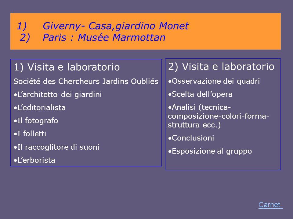 Giverny- Casa,giardino Monet 2) Paris : Musée Marmottan