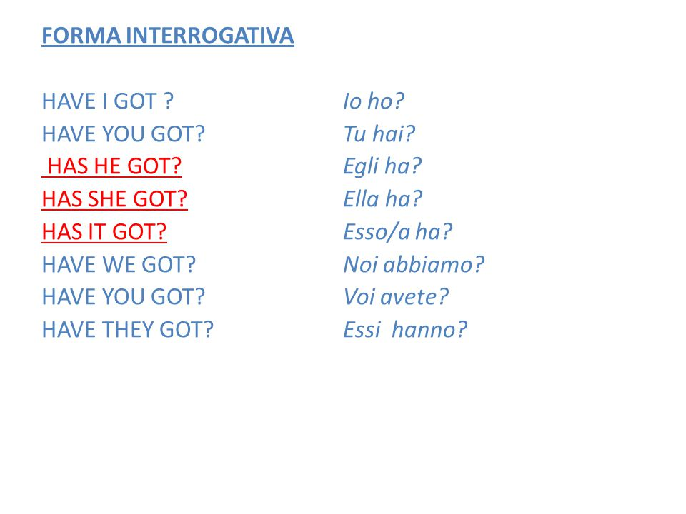 FORMA INTERROGATIVA HAVE I GOT. HAVE YOU GOT. HAS HE GOT. HAS SHE GOT