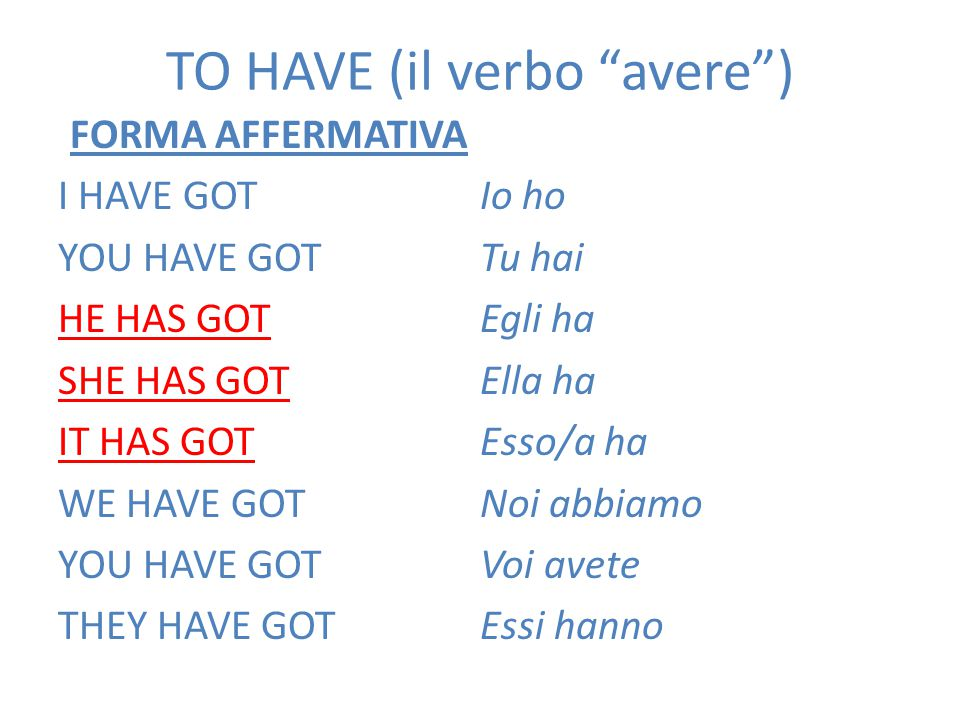 TO HAVE (il verbo avere )