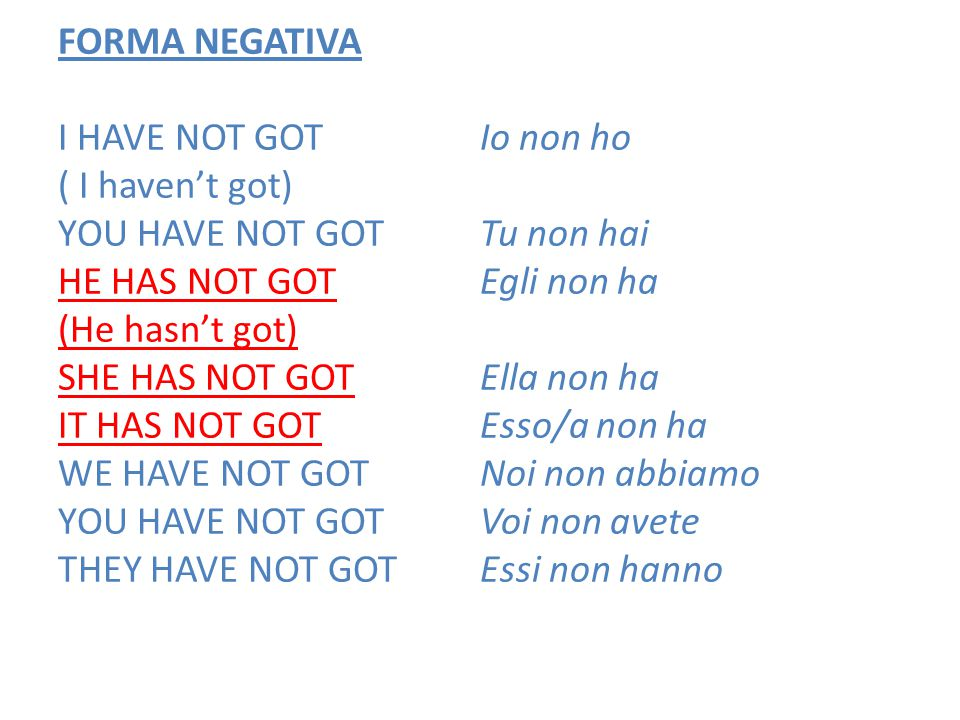 FORMA NEGATIVA I HAVE NOT GOT ( I haven't got) YOU HAVE NOT GOT HE HAS NOT GOT (He hasn't got) SHE HAS NOT GOT IT HAS NOT GOT WE HAVE NOT GOT THEY HAVE NOT GOT Io non ho Tu non hai Egli non ha Ella non ha Esso/a non ha Noi non abbiamo Voi non avete Essi non hanno