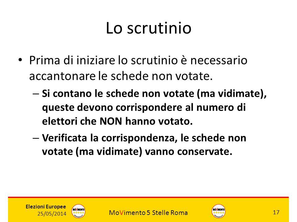 Lo scrutinio Prima di iniziare lo scrutinio è necessario accantonare le schede non votate.