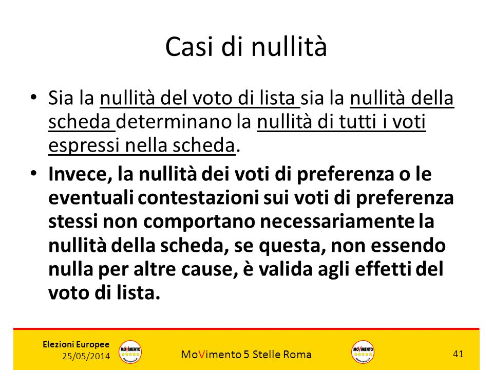 Casi di nullità Sia la nullità del voto di lista sia la nullità della scheda determinano la nullità di tutti i voti espressi nella scheda.