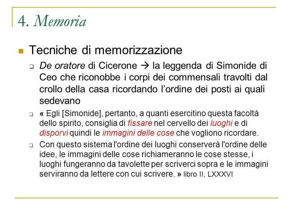 4. Memoria Tecniche di memorizzazione