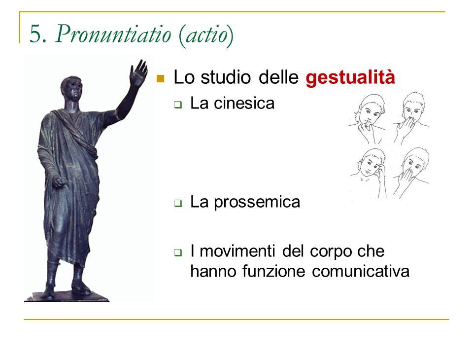 5. Pronuntiatio (actio) Lo studio delle gestualità La cinesica