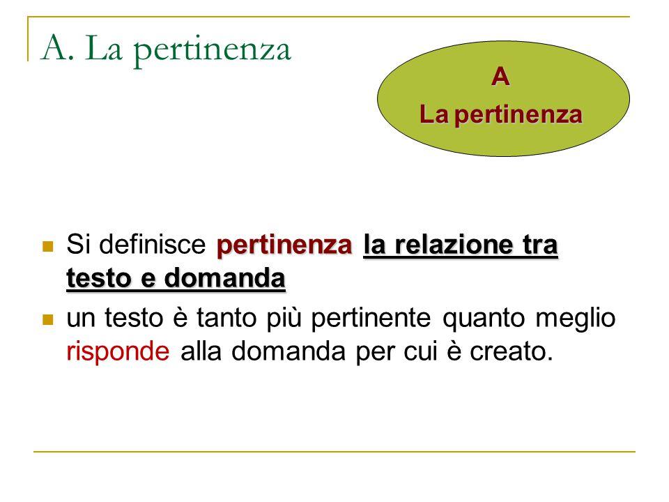 A. La pertinenza A. La pertinenza. Si definisce pertinenza la relazione tra testo e domanda.