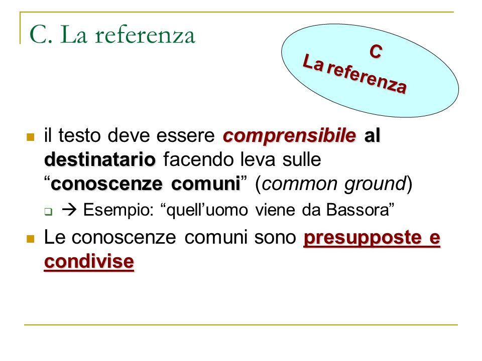 C. La referenza C. La referenza. il testo deve essere comprensibile al destinatario facendo leva sulle conoscenze comuni (common ground)