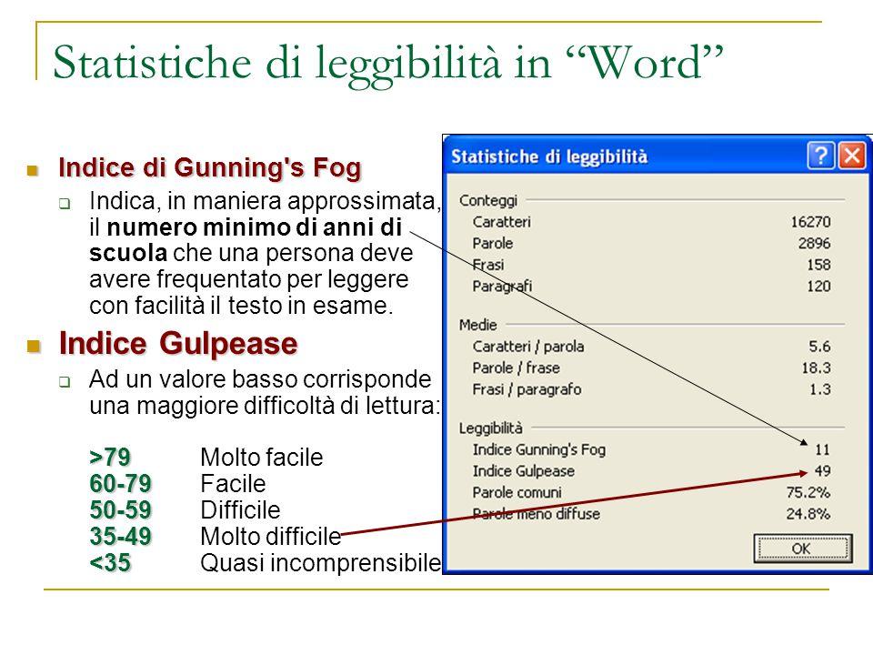 Statistiche di leggibilità in Word