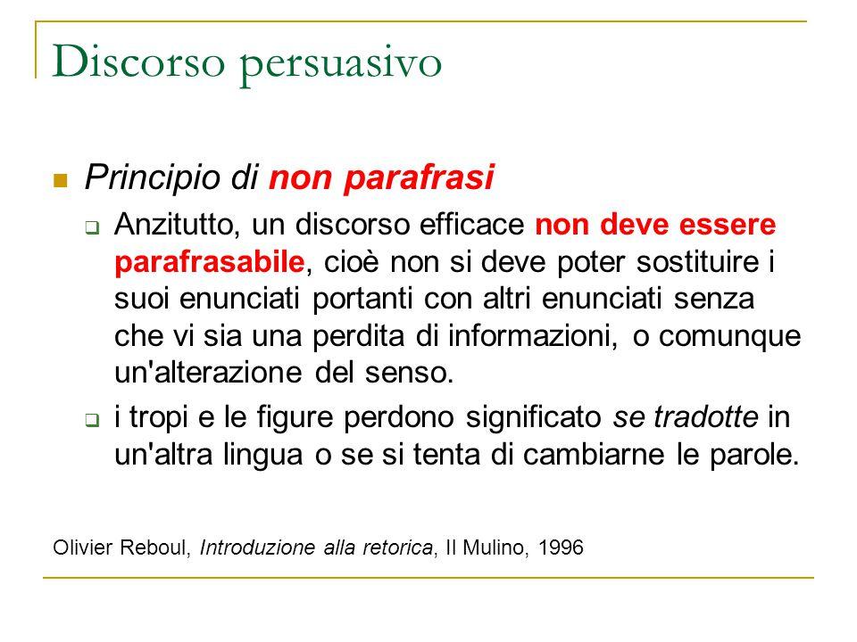 Discorso persuasivo Principio di non parafrasi