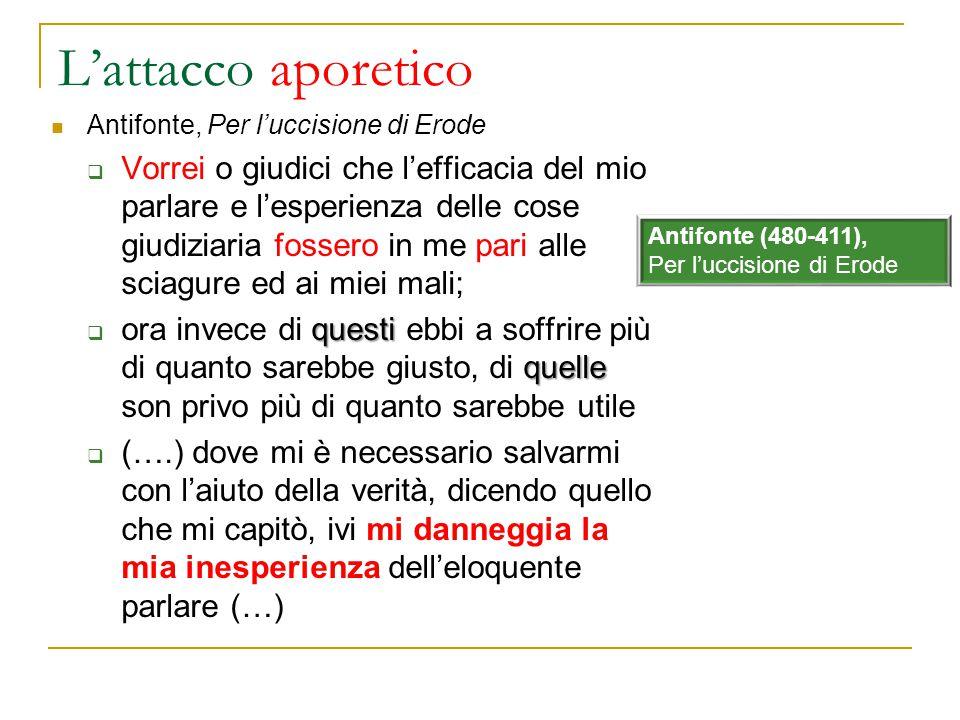 L'attacco aporetico Antifonte, Per l'uccisione di Erode.