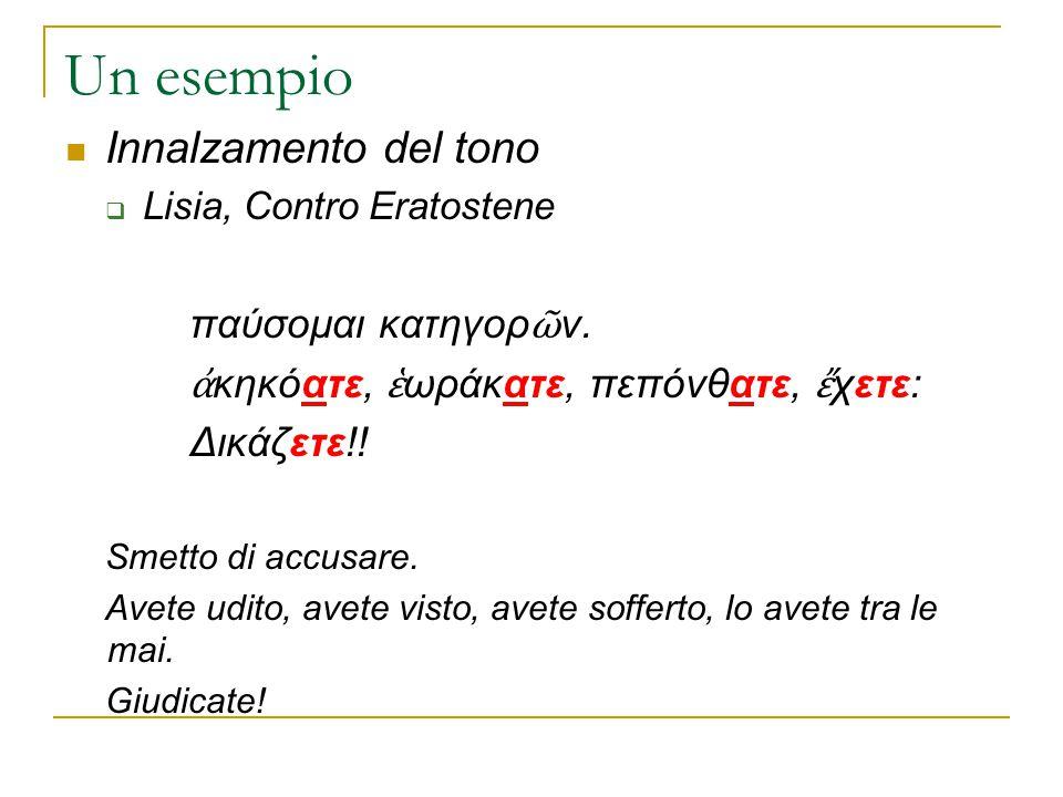Un esempio Innalzamento del tono παύσομαι κατηγορῶν.