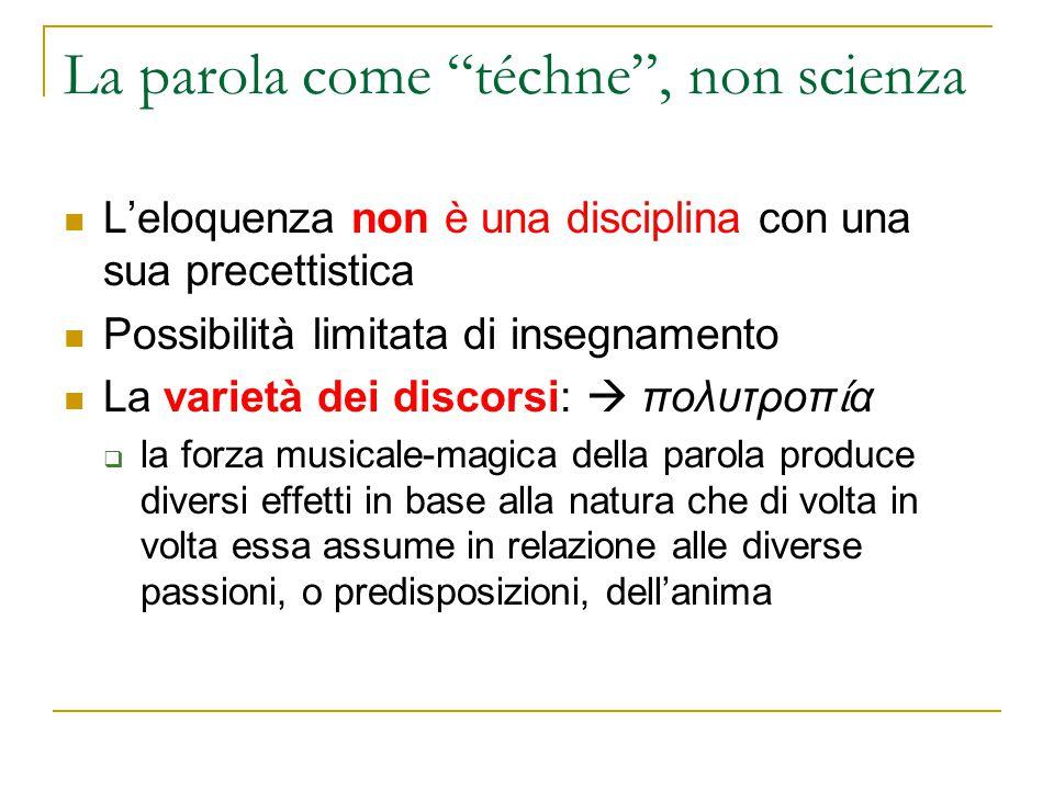 La parola come téchne , non scienza