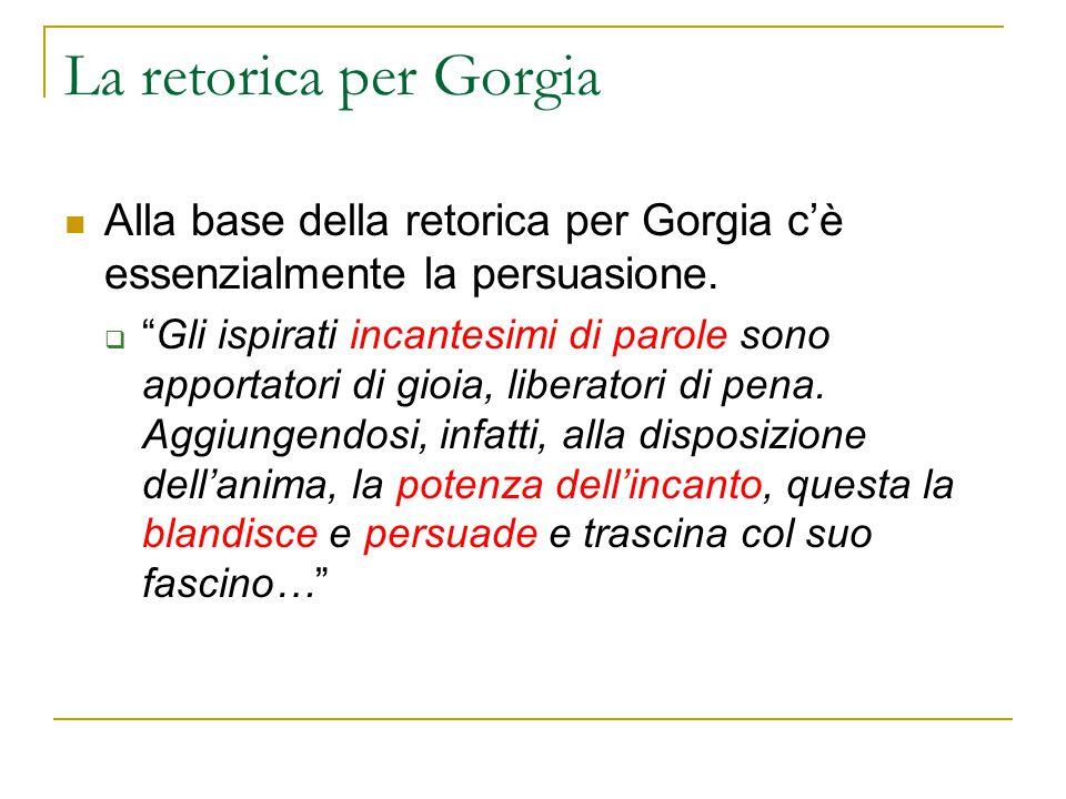 La retorica per Gorgia Alla base della retorica per Gorgia c'è essenzialmente la persuasione.