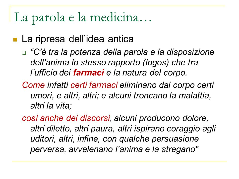 La parola e la medicina…