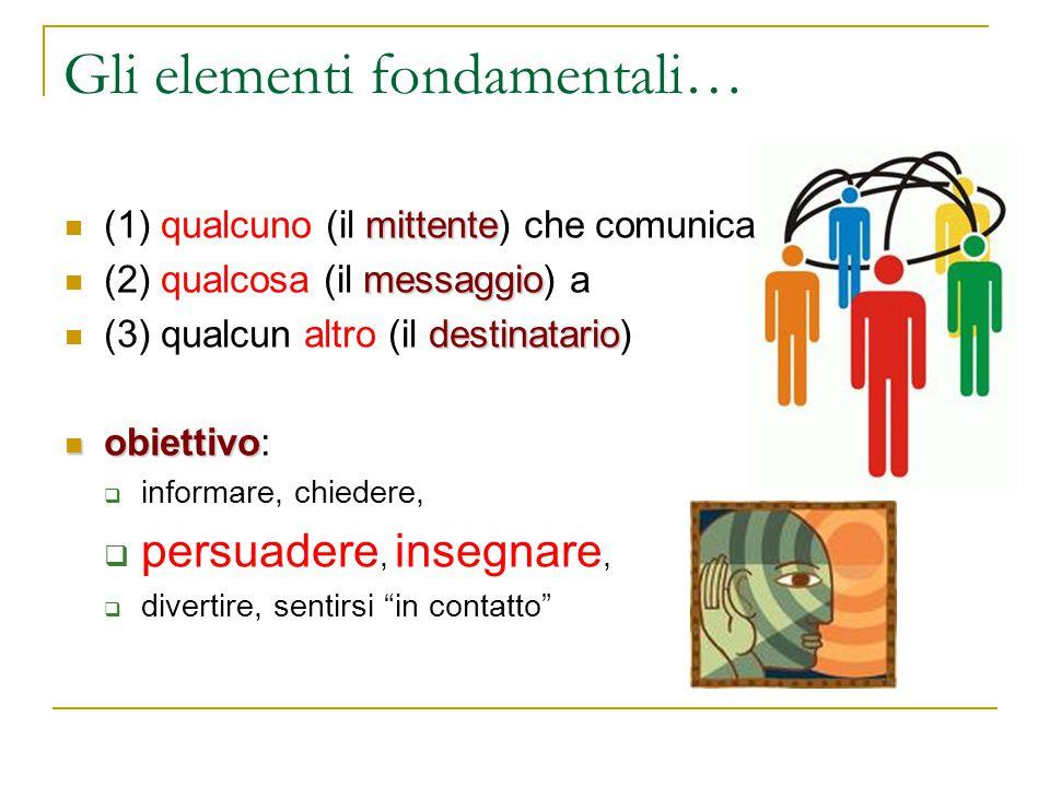 Gli elementi fondamentali…