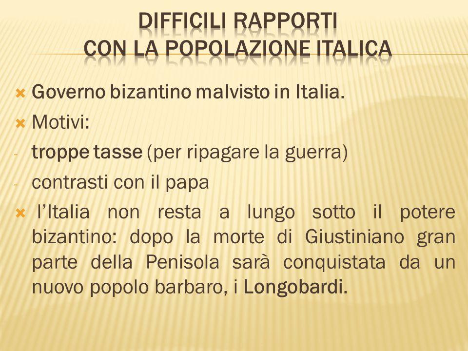 DIFFICILI RAPPORTI CON LA POPOLAZIONE ITALICA