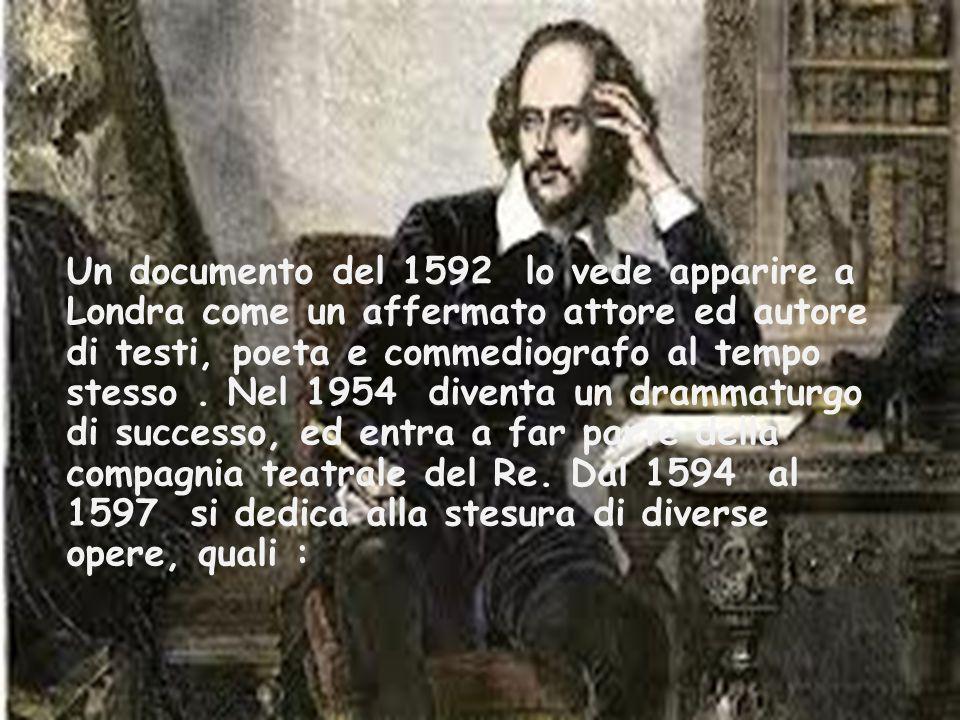 Un documento del 1592 lo vede apparire a Londra come un affermato attore ed autore di testi, poeta e commediografo al tempo stesso .
