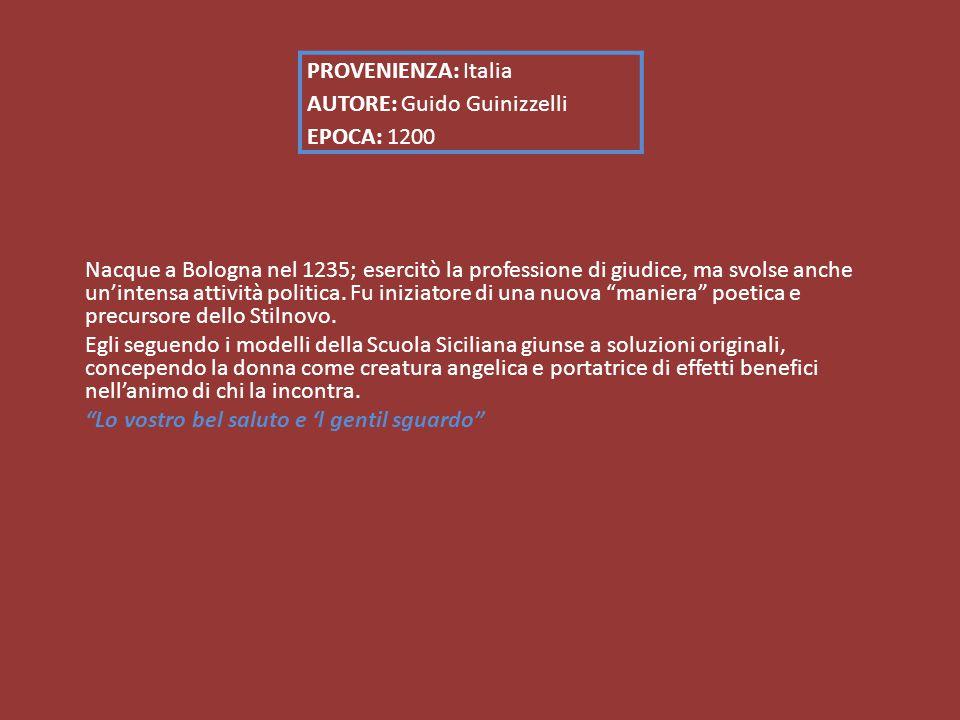 PROVENIENZA: Italia AUTORE: Guido Guinizzelli EPOCA: 1200