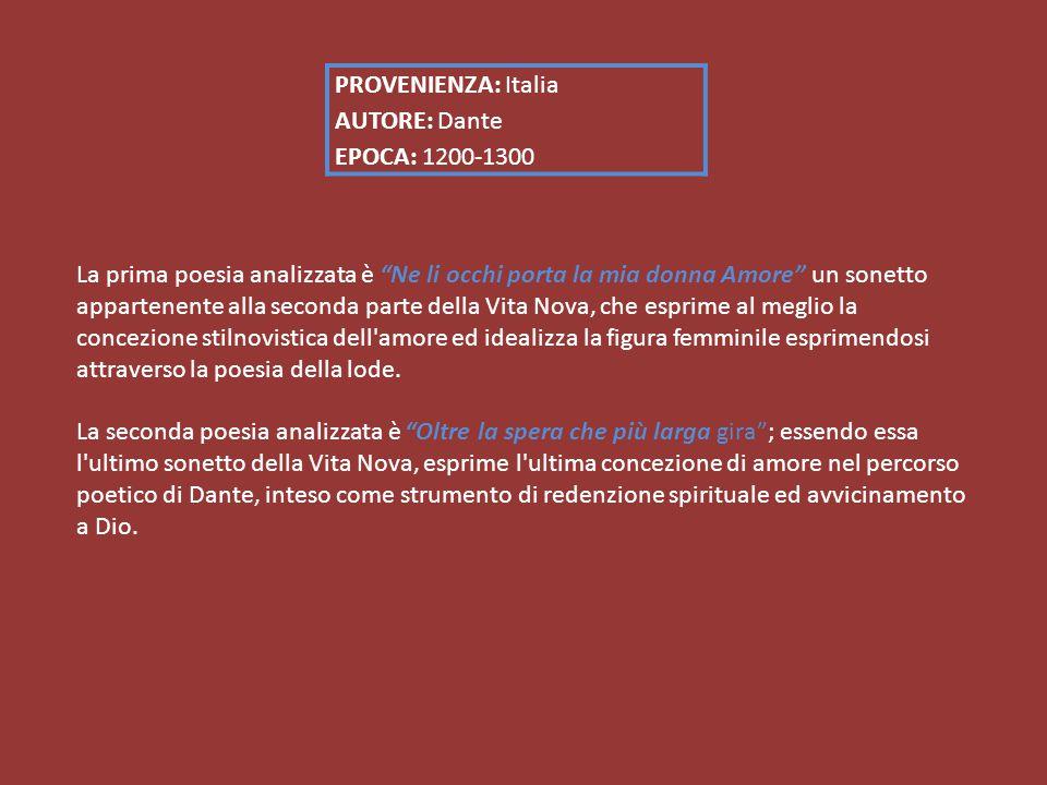 PROVENIENZA: Italia AUTORE: Dante EPOCA: 1200-1300