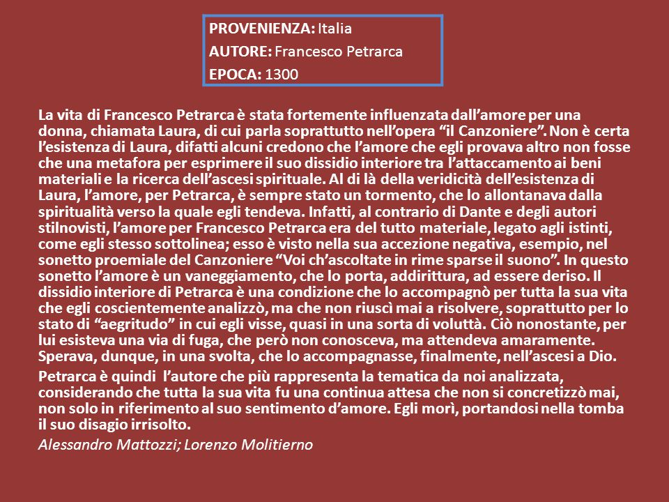 PROVENIENZA: Italia AUTORE: Francesco Petrarca EPOCA: 1300