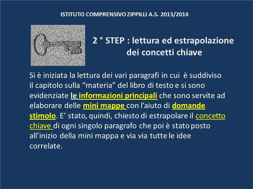 2 ° STEP : lettura ed estrapolazione dei concetti chiave