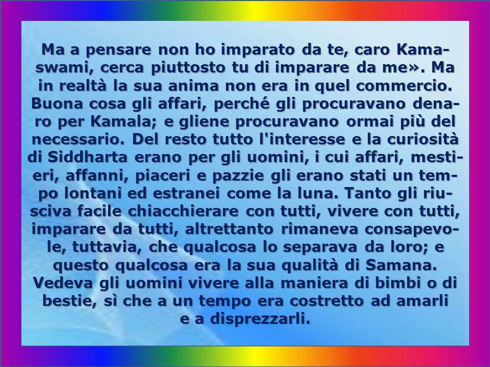 Ma a pensare non ho imparato da te, caro Kama-swami, cerca piuttosto tu di imparare da me».