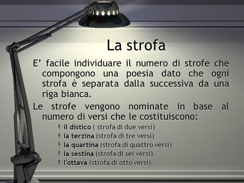 La strofa E' facile individuare il numero di strofe che compongono una poesia dato che ogni strofa è separata dalla successiva da una riga bianca.