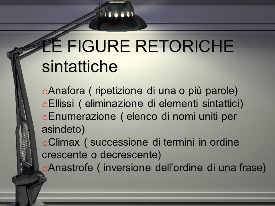 LE FIGURE RETORICHE sintattiche