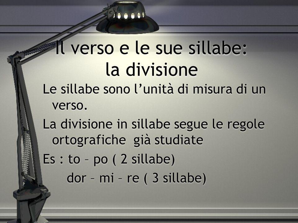 Il verso e le sue sillabe: la divisione