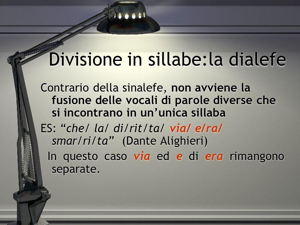 Divisione in sillabe:la dialefe