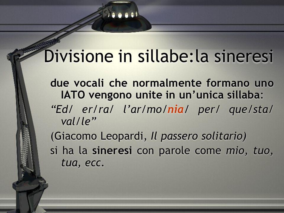 Divisione in sillabe:la sineresi