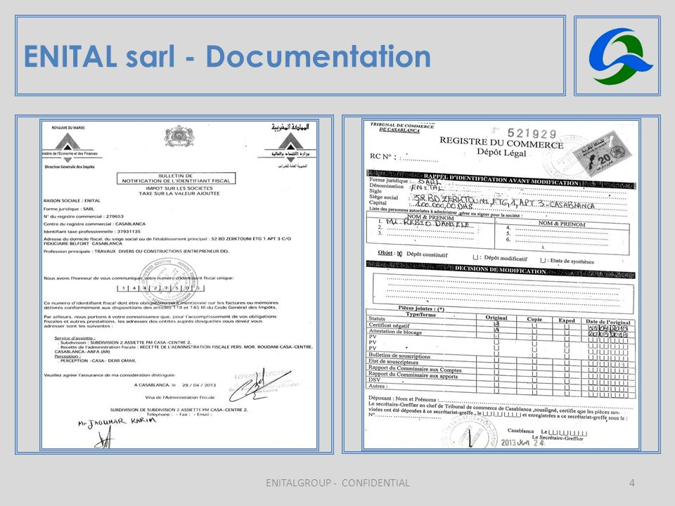 ENITAL sarl - Documentation