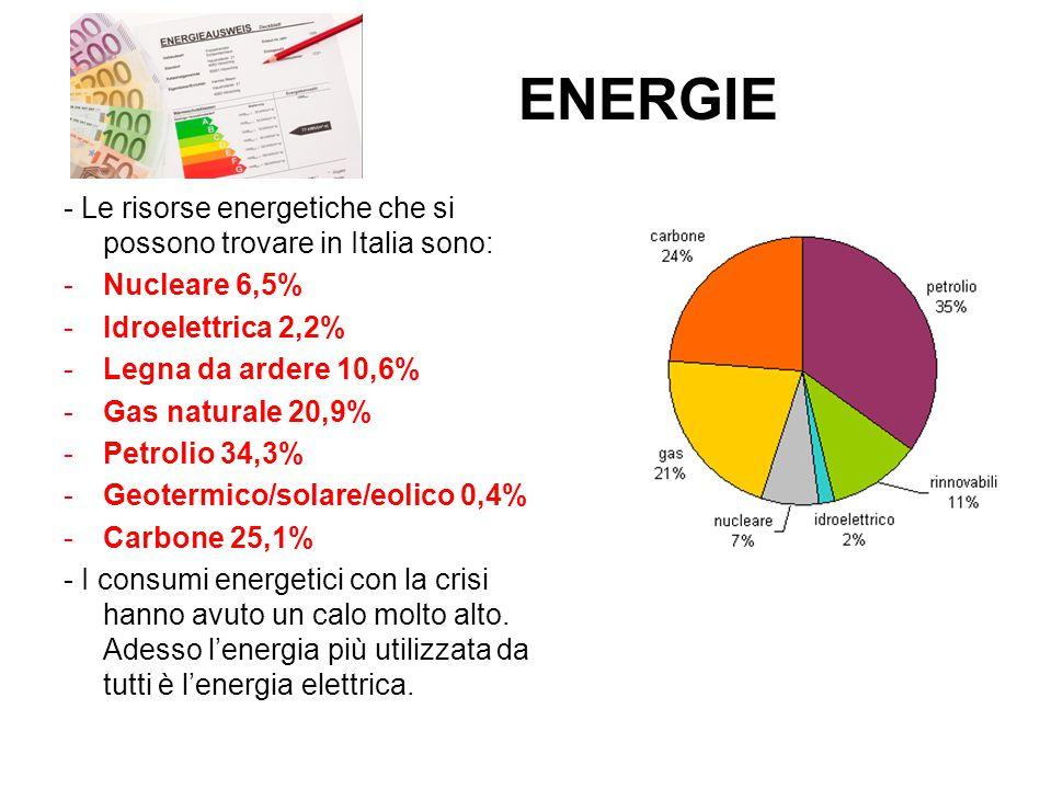 ENERGIE - Le risorse energetiche che si possono trovare in Italia sono: Nucleare 6,5% Idroelettrica 2,2%