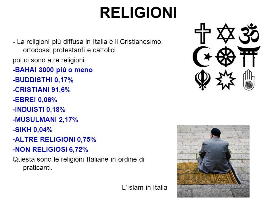 RELIGIONI - La religioni più diffusa in Italia è il Cristianesimo, ortodossi protestanti e cattolici.