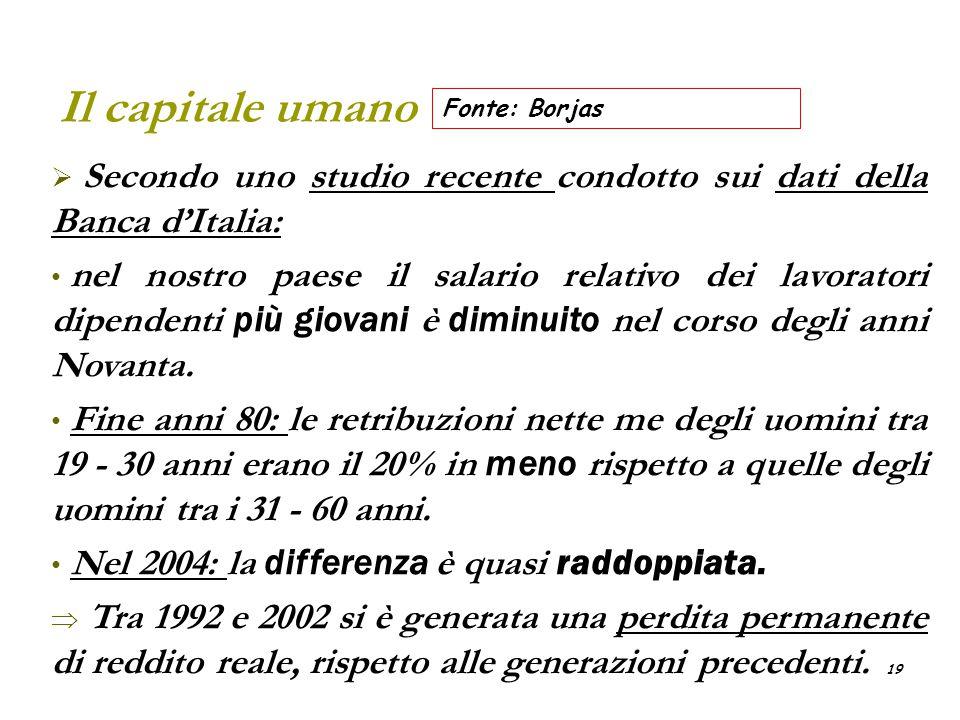Il capitale umano Fonte: Borjas. Secondo uno studio recente condotto sui dati della Banca d'Italia: