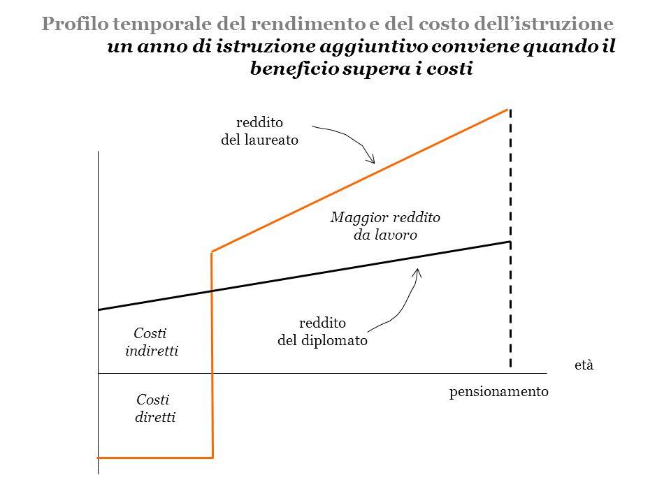 Profilo temporale del rendimento e del costo dell'istruzione