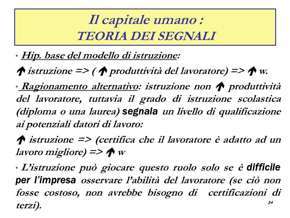 Il capitale umano : TEORIA DEI SEGNALI